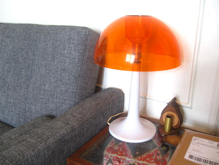ismoyo's vintage playground: mod orange mid century gilbert softlite mushroom lamp