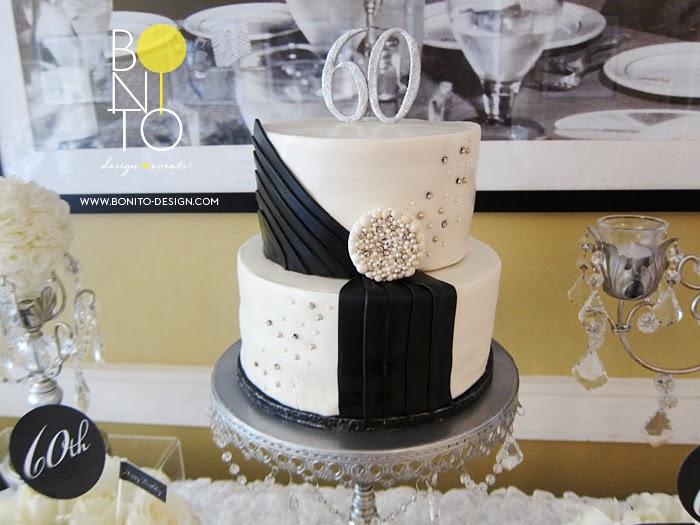 Bonito Design Blog Helen Guzman Black White 60th Birthday Event