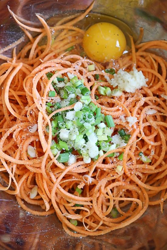 Spiralized Sweet Potato Latkes   Skinnytaste