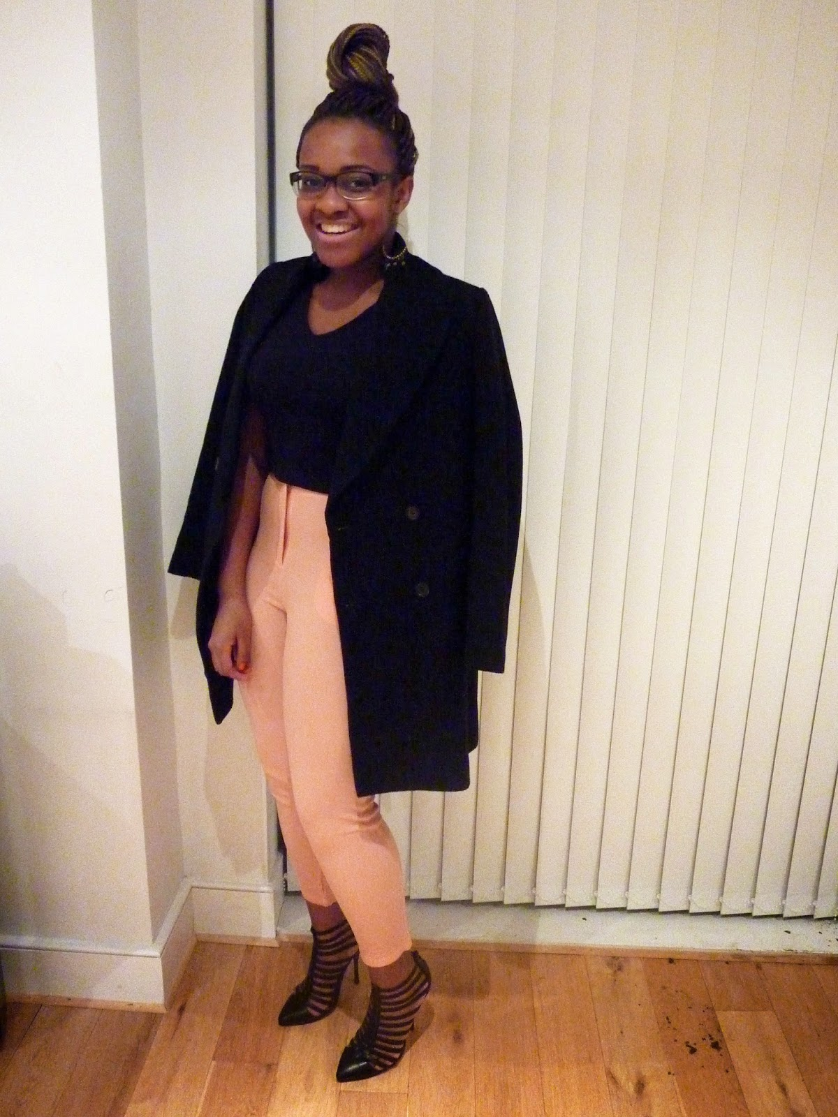 ASOS Glamorous Crepe Trousers Zara Long Double Breasted Coat Asos Tatum Gladiator Shoe Boot