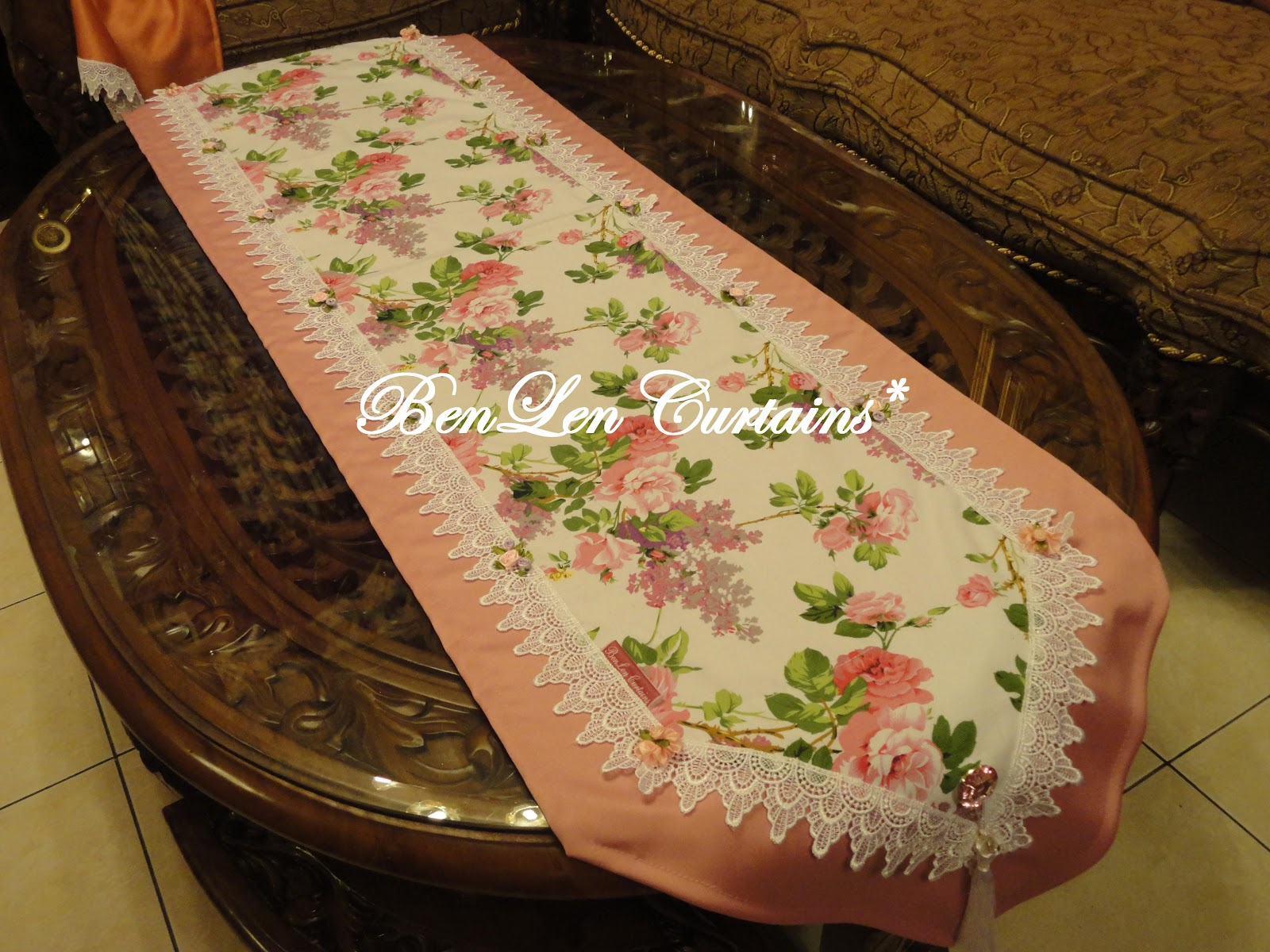 Benlen Curtains Coffee Table Runner Royal English Roses Pink Double Layer Rm