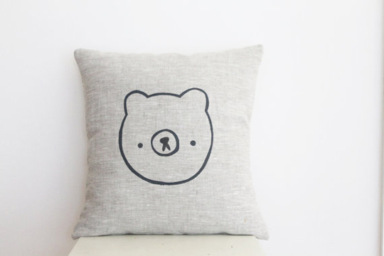Hand-printed bear pillow
