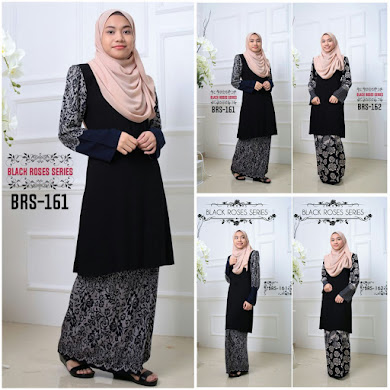 BAJU KURUNG BLACK ROSE SERIES