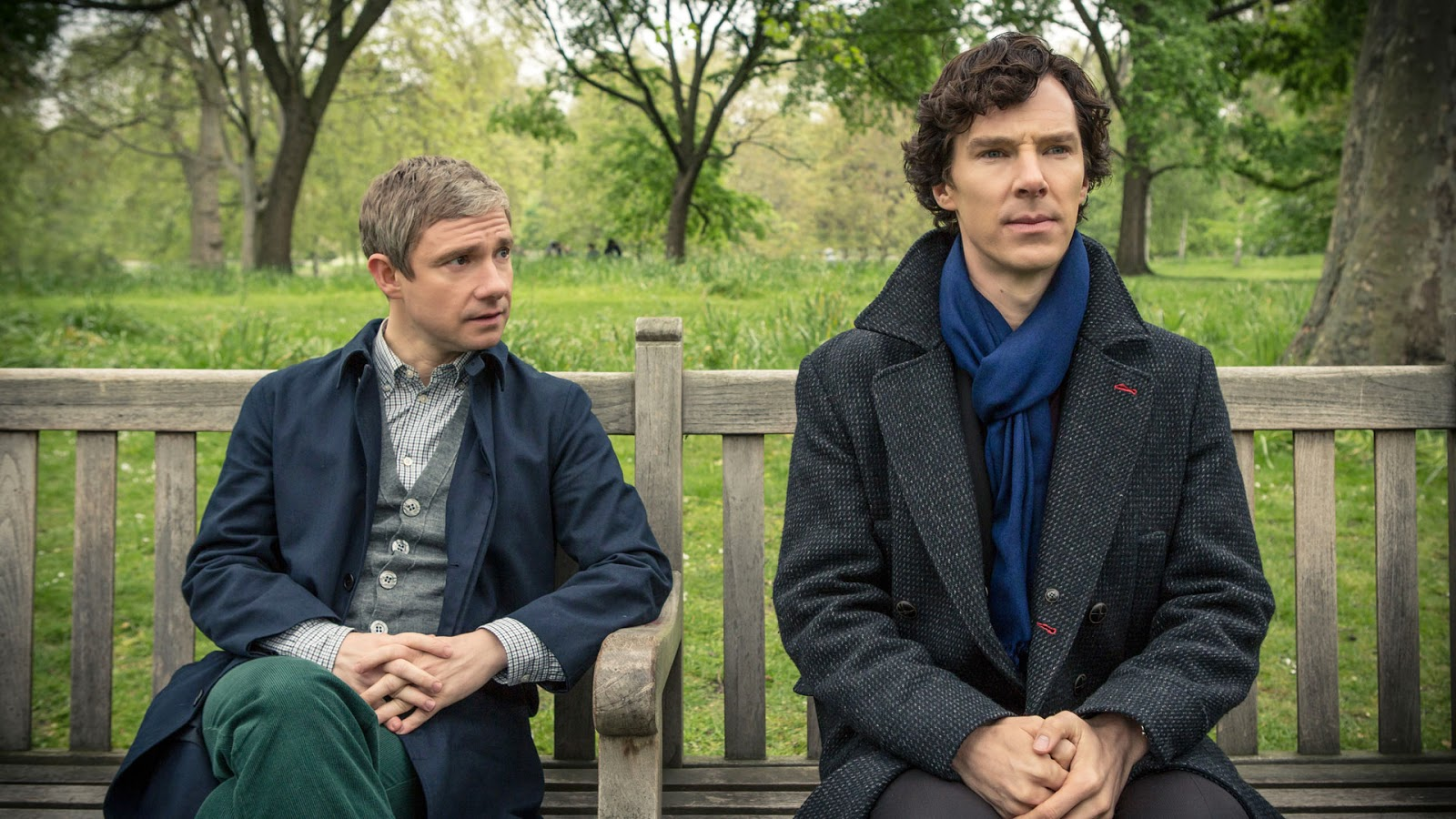 Benedict Cumberbatch and Martin Freeman as Sherlock Holmes and John Watson in BBC Sherlock Season 3 Episode 2 The Sign of Three