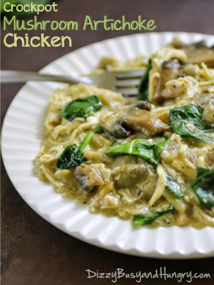 Crockpot Mushroom Artichoke Chicken #slowcooker #crockpot #chicken #easyrecipe