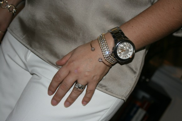 Michael Kors Mid-Size Silver Color Golden Stainless Steel Camille Chronograph