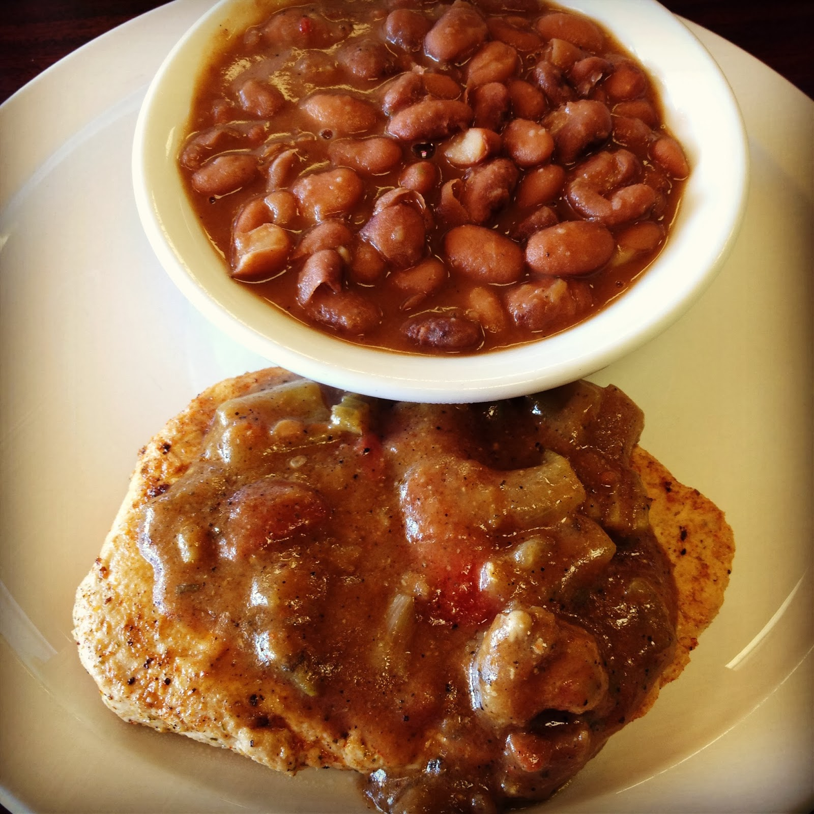 Vegan Cajun Cutlet and Pinto Beans