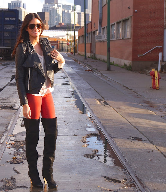 thigh high boots; faux leather jacket