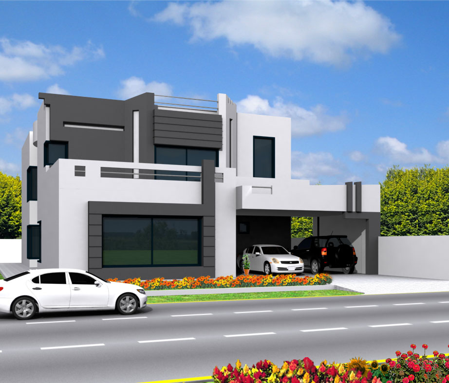 Modern Front Elevation Plan : Front elevation modern house smart home designs