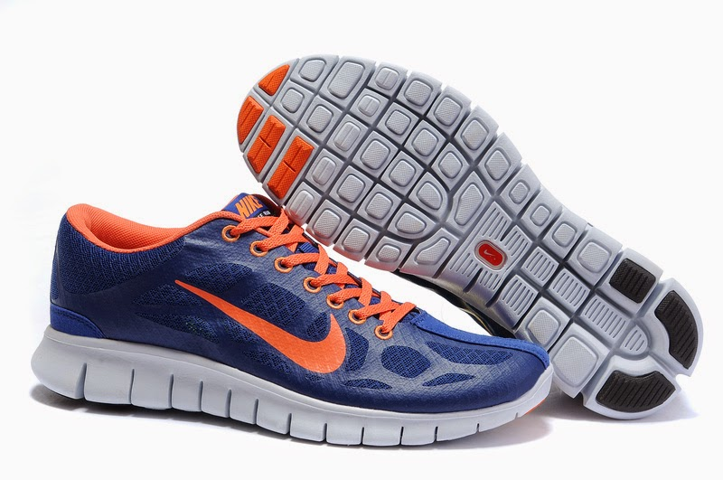 Wholesale Free Shipping Nike Free Run 30 Mens Dark Blue Orange Shoes