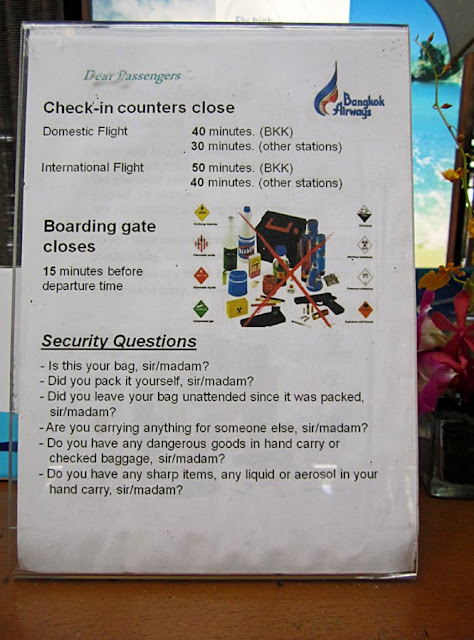 instructions at Thai airport