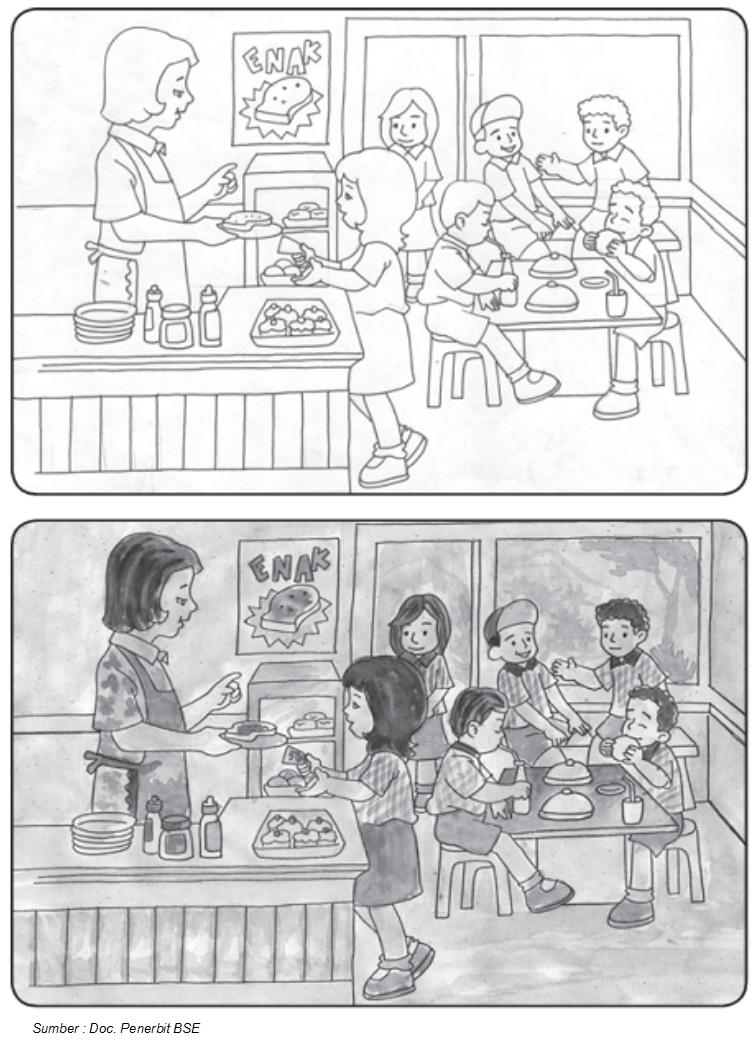 Penyempurnaan gambar sketsa pada gambar ilustrasi