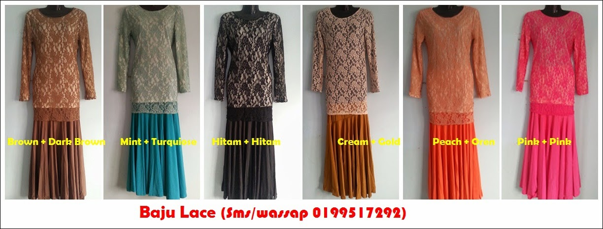 Baju lace - Brown, Mint, Hitam, Cream, Peach, Pink