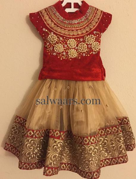 High Neck Blouse Beige Lehenga