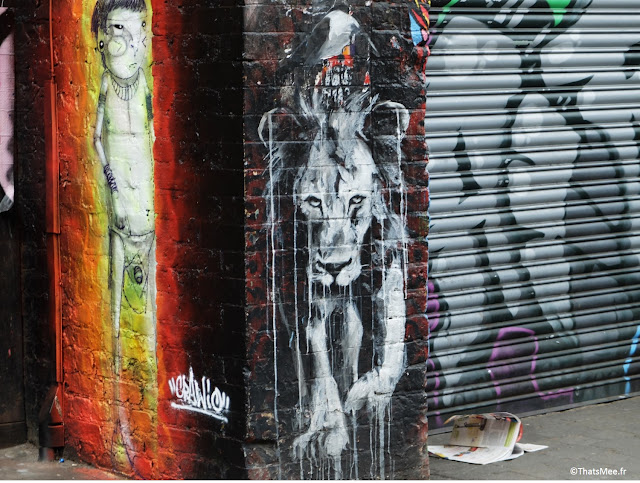 roi lion street art graffiti Londres Brick lane East London