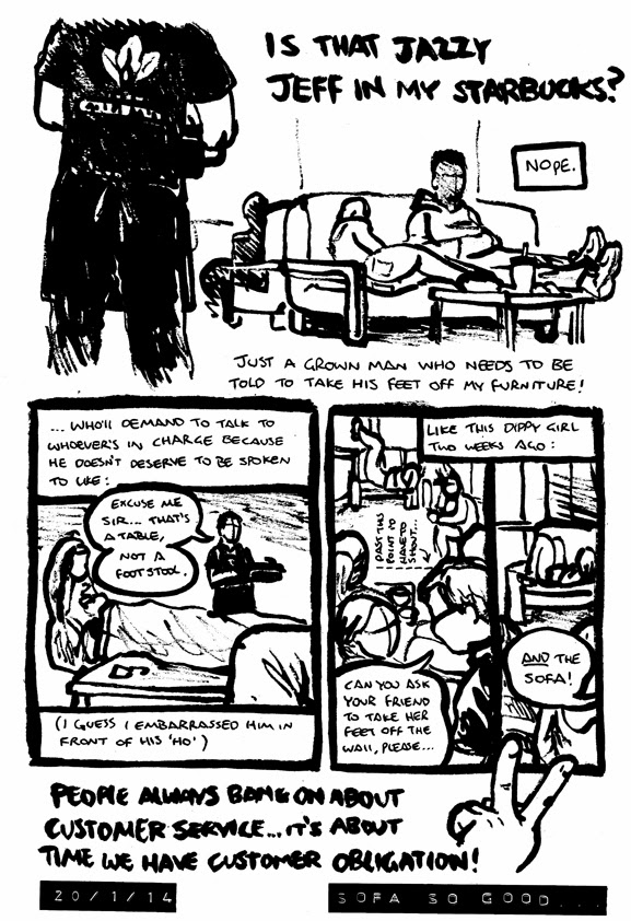 Comic strip by Alex Hahn about telling an idiot customer to get his feet off the table