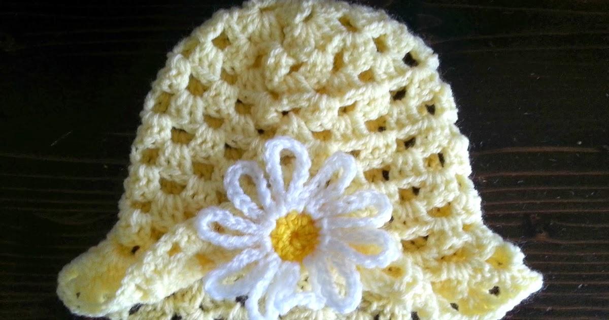 Free Crochet Pattern For Easter Bonnet : Free Crochet Pattern ~ Daisy Spring Easter Hat 3 - 6 ...