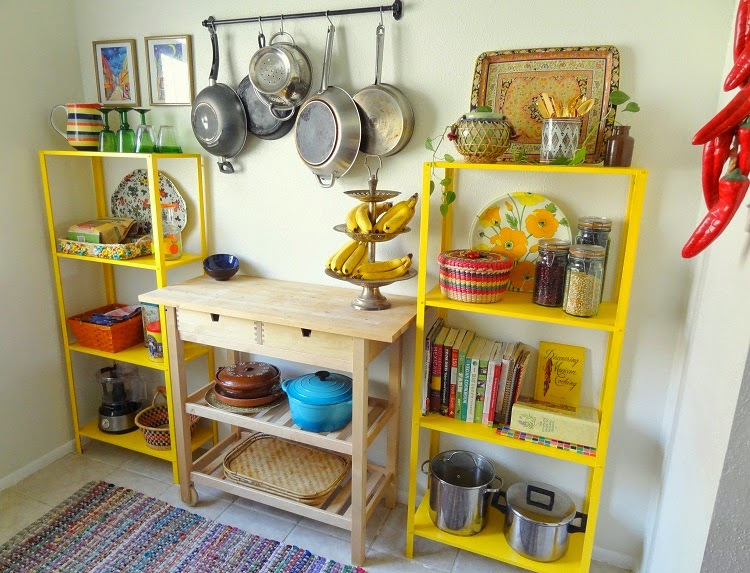 Yellow Kitchen Shelves