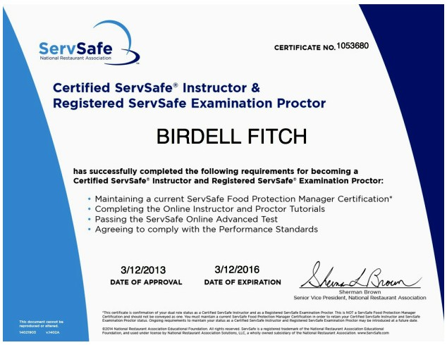 Examples Of Best Certificate Servsafe Certification
