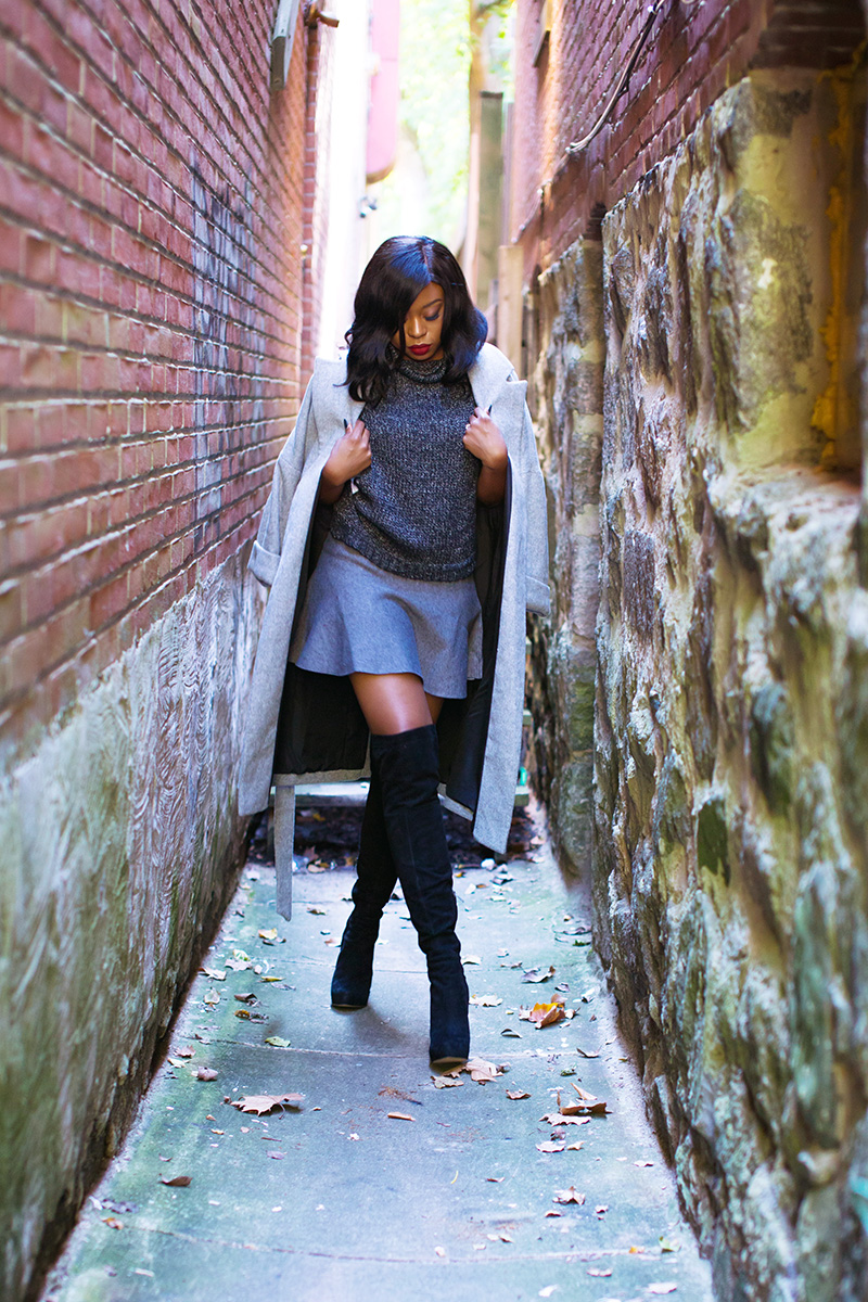 How to style mini skirt, Fall look, Skate skirt, zara grey coat, Sam edelman over the knee boots, www.jadore-fashion.com