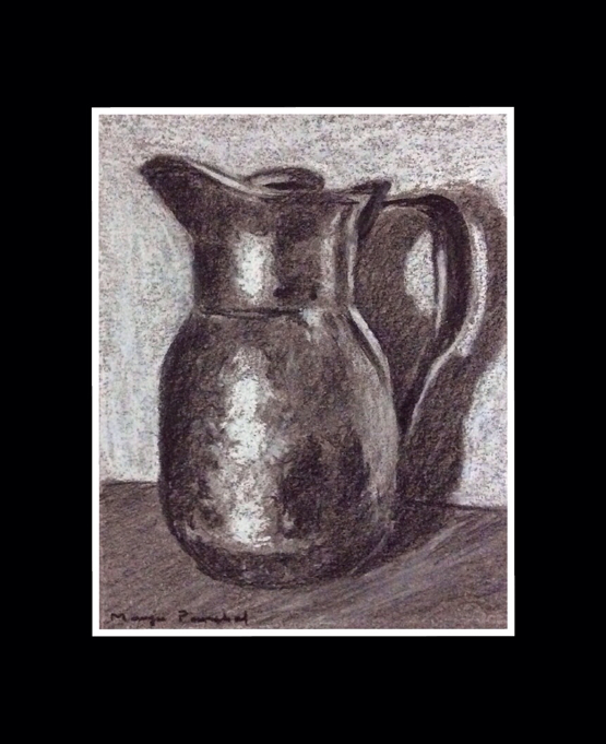 Charcoal and soft pastel sketching of a JUG by Manju Panchal