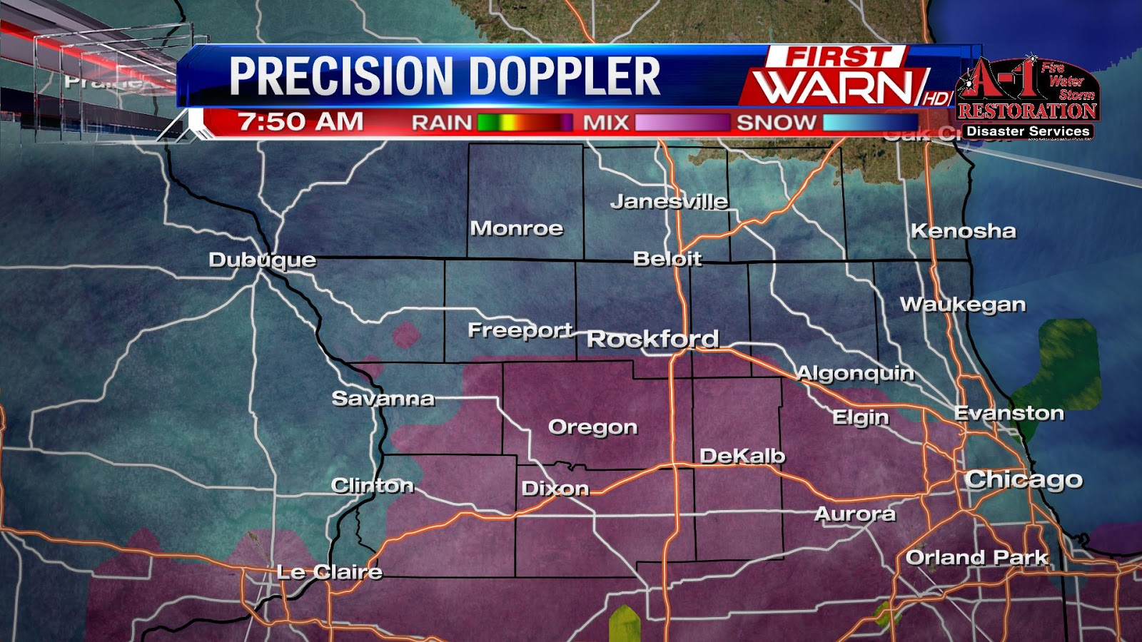 sleet and snow already spreading north into the stateline at the station as of 6 30am not noticing any precip falling but have reports of light snow