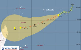 Zyklonsaison SW-Indischer Ozean: Pot. Tropischer Sturm ANAIS bedroht Mauritius und Seychellen nicht, Zyklonsaison Südwest-Indik 2012 2013, aktuell, Anais, Mauritius, Seychellen, Indischer Ozean Indik, Vorhersage Forecast Prognose, Oktober, 2012,