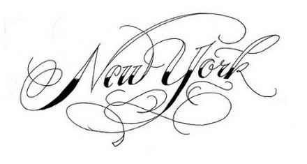 new york fancy writing alphabet
