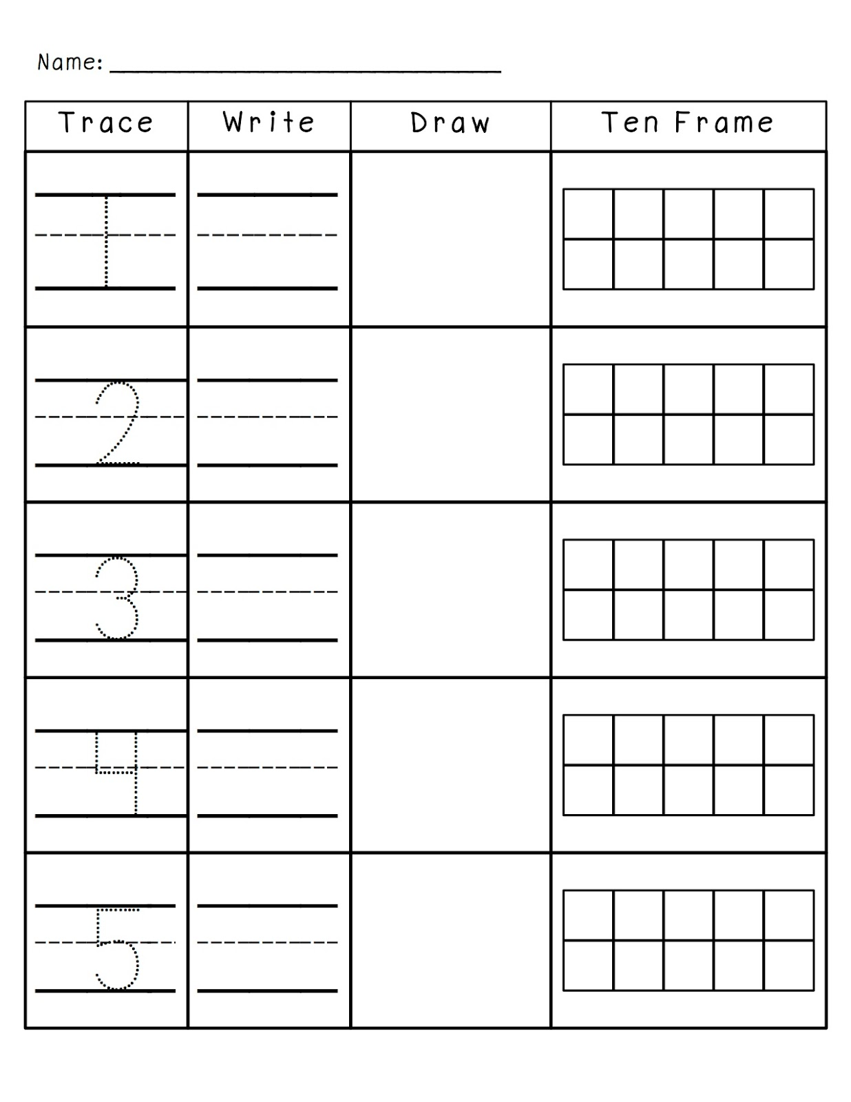 Printable Math Pages Kindergarten 10 Frame : Search ...