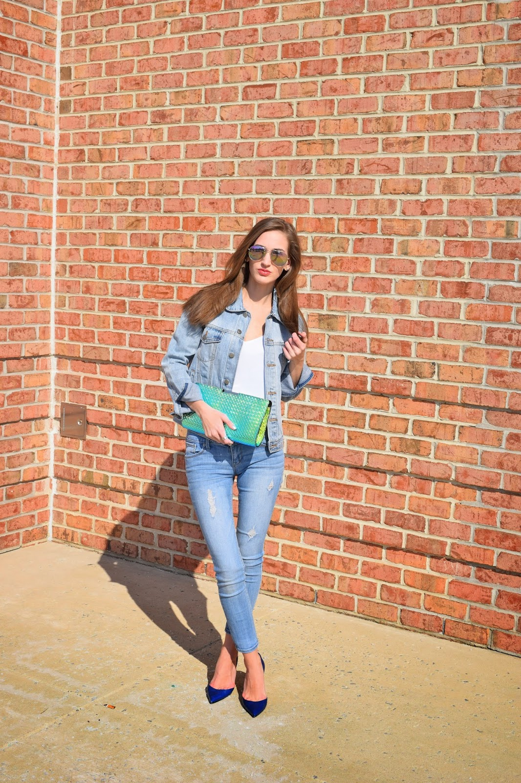 Denim on denim, denim spring jacket, milly metallic clutch, manolo blahnik d'orsay heels