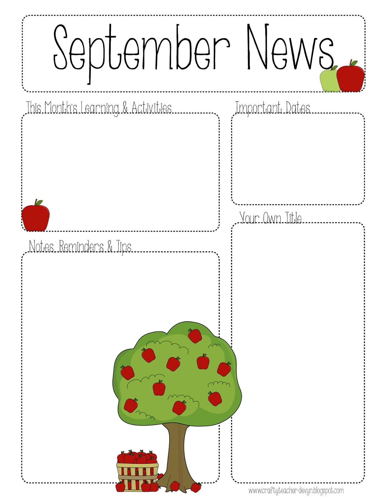 September printable newsletter all grades the crafty for Free editable newsletter templates for teachers