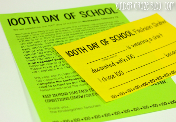 creative ideas and a freebie for the 100th day of school