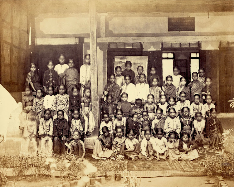 Girl Students from the Juggunath Shankarset Girls' School at Bombay - 1873
