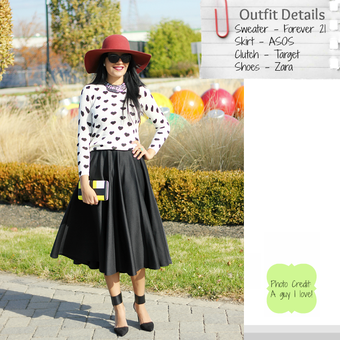 Heart print sweater, ASOS scuba midi skirt, ASOS black circle skirt, ASOS full midi skirt