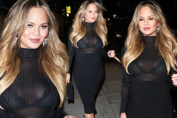 Chrissy Teigen flashes boobs in see-through top