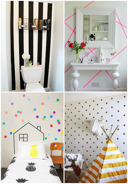 ideas diy paredes washi tape