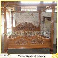 Tempat Tidur Kanopi Ukiran Mawar Kuncung Jakarta