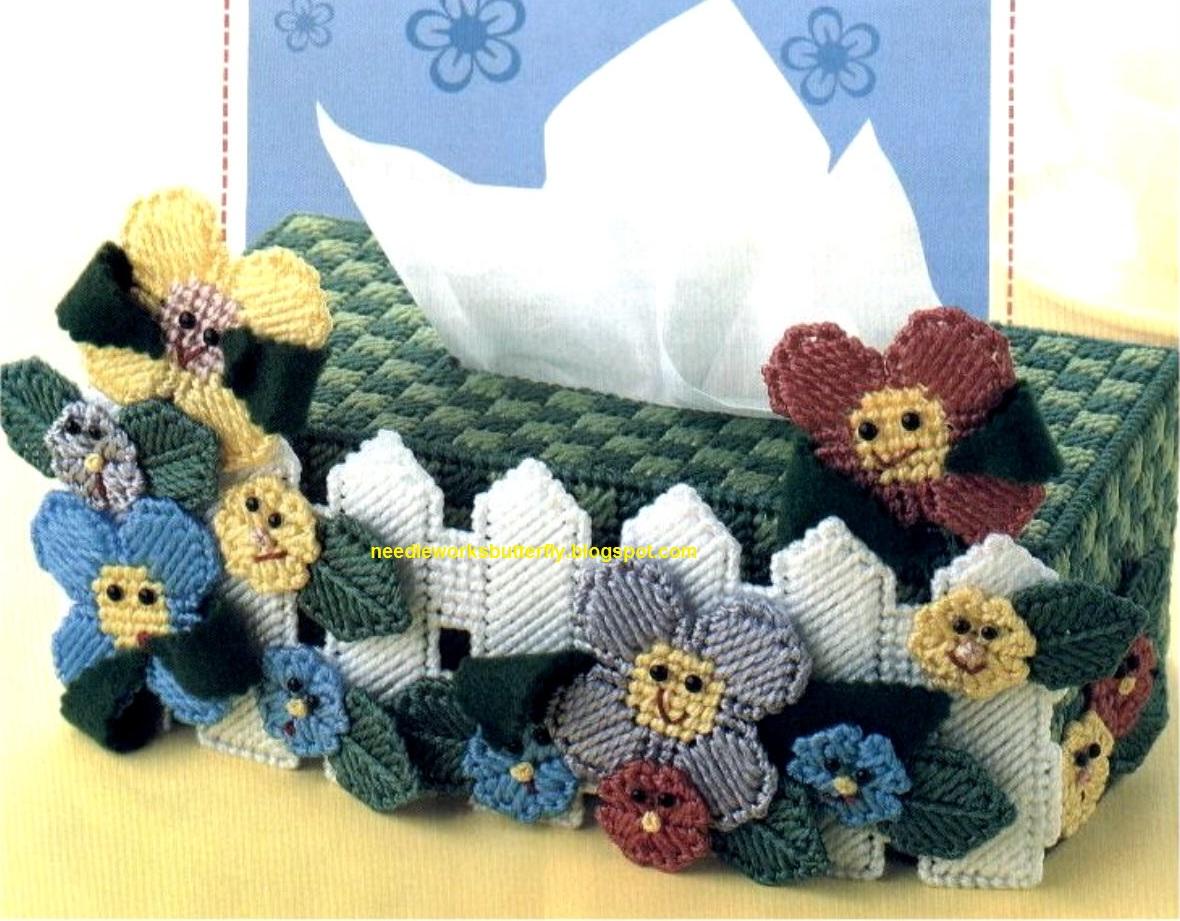 Garden Tissue Topper In Plastic Canvas