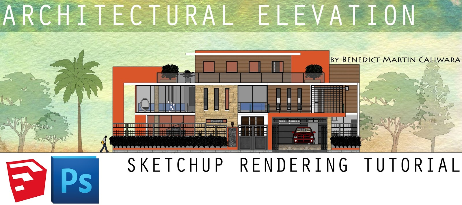 L Arch Viz: Architectural Elevation: SketchUp Rendering