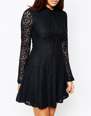 Black Lace Pussybow Dress from Warehouse