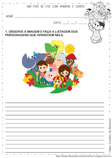 Atividade Dia do Livro Infantil Listagem de palavras