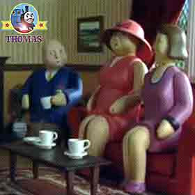 The Fat Controller his wife and his mother sitting in the living room Thomas Birthday party picnic