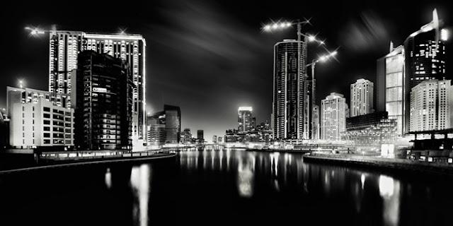 Черно-белые фотографии ночного Дубая