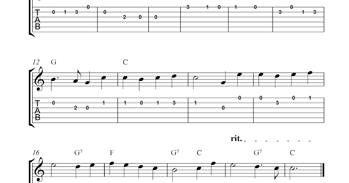 O Come, All Ye Faithful, easy free Christmas guitar sheet music and guitar tabs