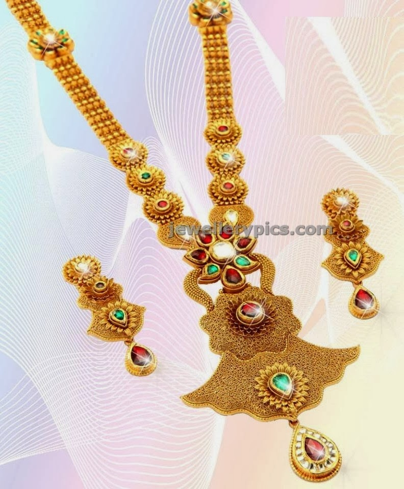 manepalli jewellers long gold haram design