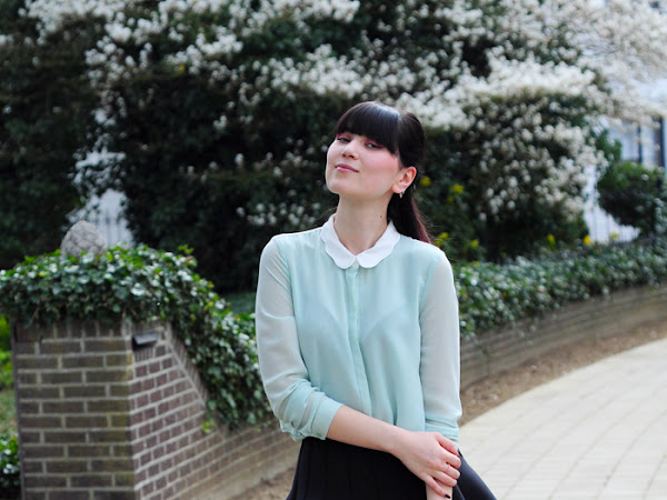 Mint blouse & scuba skirt