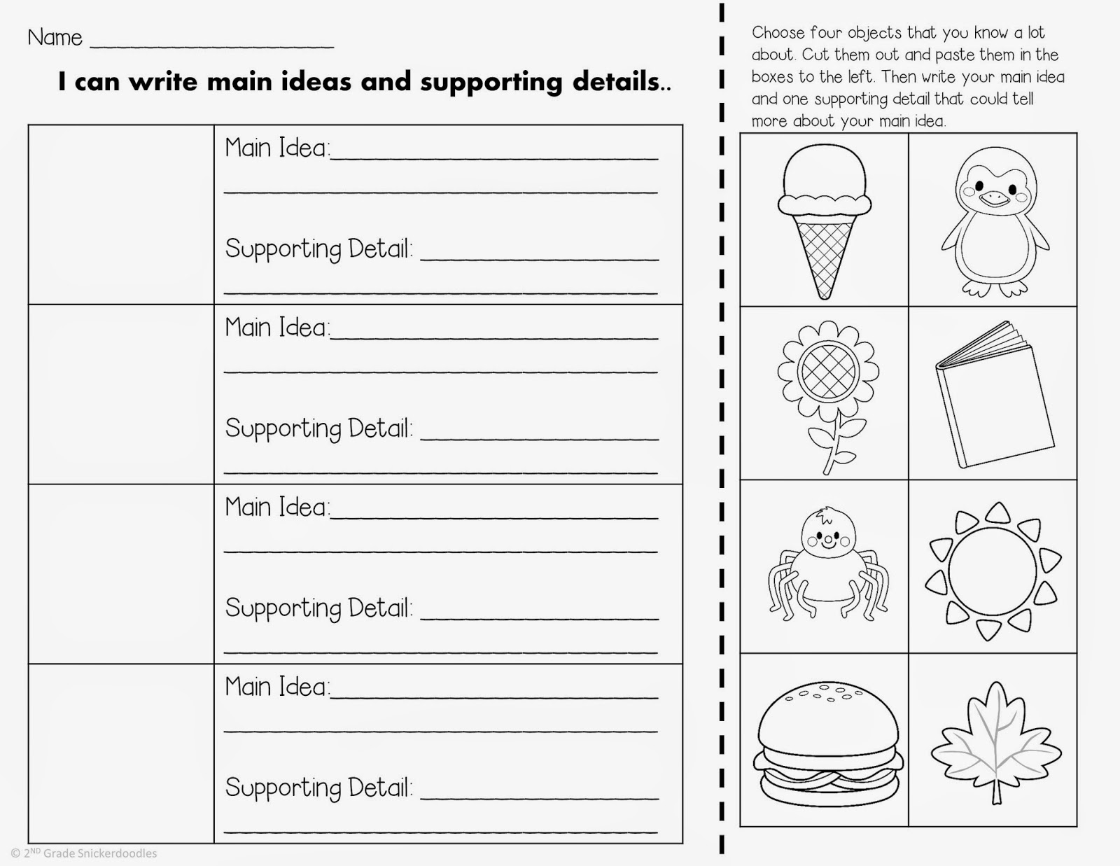 worksheet Main Idea Supporting Details Worksheet 2nd grade snickerdoodles main idea and supporting details have you seen all of the awesome videos on almost a third grader channel youtube this teacher is can view her channel