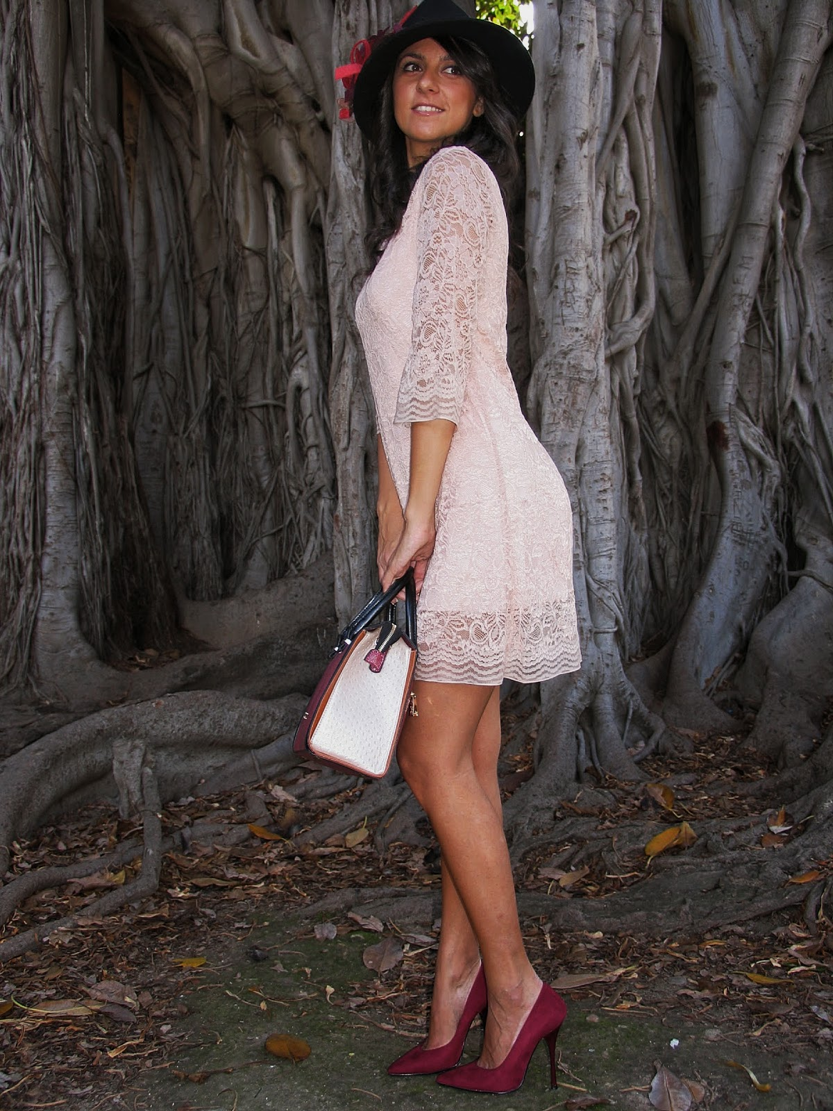 dress, pink, pizzo, cipria