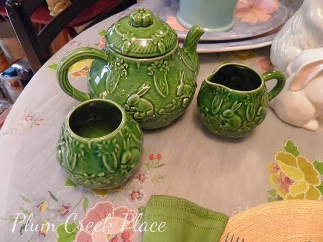 Bordallo Pinheiro green Easter Teapot