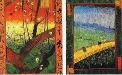 """Japonaiserie: """"Ameixoeira em flor """" e """"A ponte debaixo da chuva""""(segundo xilogravura de Hiroshige)"""